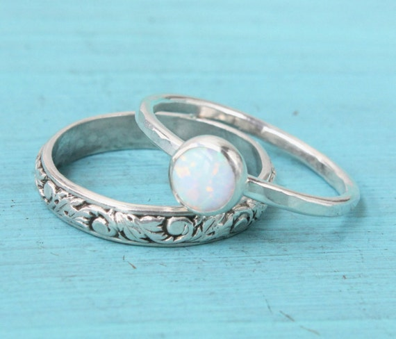 Opal engagent or wedding ring set Sterling by SilverStamped