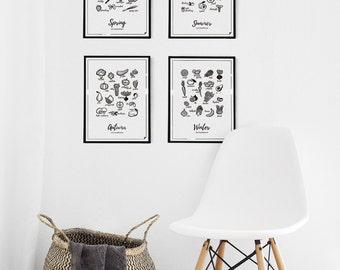 4 Seasons kitchen prints - Eat Seasonally - 8x10 11x14 12x16 16x20 A4 A3 B2 B1
