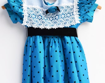 1960s Teal and Black Polka Dot Toddler Dress, Vintage, Size 2T Clothes