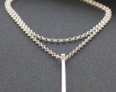 """Long silver bar necklace. Solid sterling vertical bar necklace.  Statement Necklace.  """"Streamlined Long Bar Necklace"""""""