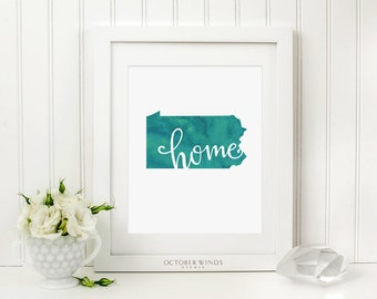 Pennsylvania Wall Art Home Printable, Pennsylvania Map Art Print, Love Pennsylvania Print, Watercolor Wall Decor, Home Sign, Philadelphia