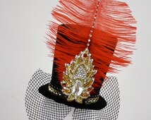 Mini Black Top Hat w' Red Feather & Swarovski Crystals, Clip On, Circus, Ringmaster, Burlesque