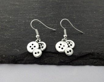 Button Earrings, Charm Earrings, Button Jewellery, Sewing Earrings, Sewing Gifts, Button Gifts, Charm Jewellery, Sewing Gift, Buttons