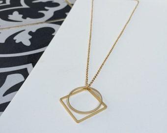 Gold Circle & Square Necklace. Gold Geometric Necklace. Geometric Pendant. (#022)