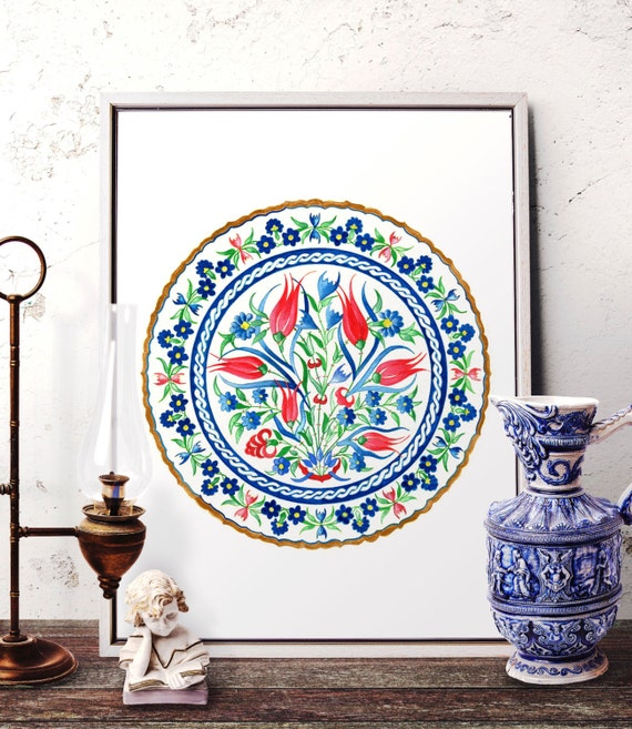 Traditional Ottoman Tulip Watercolor Wall Art Turkish Floral: Red Tulip And Blue Daisy Watercolor Art Traditional Ottoman