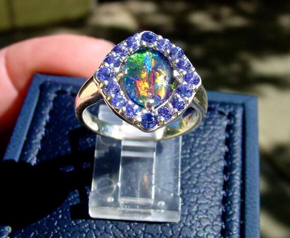Opal Halo Engagement Ring Wedding Band set 14K by AmyKJewels