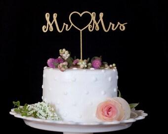 Mr. Heart Mrs. Gold Wedding Cake Topper