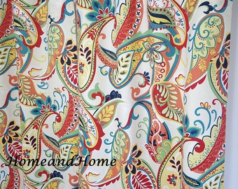 "50"" Pair of rod curtains drapery panels designer curtains 50 x 84 Covington Whimsy Paisley Multi navy yellow red green turquoise coral"