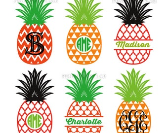 Pineapple SVG Cut Files - Monogram Frames and Patterned Split Pineapples - Professionally Designed Cut Files for Vinyl Cutting Machines