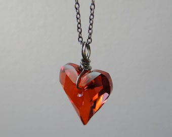 Red Magma Swarovski Wild Heart Necklace, Crystal Heart Necklace, Oxidised Sterling Silver Necklace, Wire-wrapped Necklace, UK Jewellery
