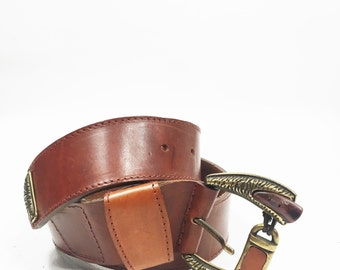 Buckle Leather Belt / Vintage Leather Belt with Buckle / Boho Chic Brass and Horn Buckle / Vintage Boho Chic Belt / Belt waist 36.2""