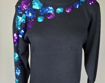 Sale! Black 80s Ugly Sweater Dress // Funny, 1980s, Blue, Purple, Sequins, Costume, Womens Size Small Medium