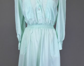 Sale! Vintage 80s, Secretary Dress, Mint Green // 1980s, Womens Size Medium