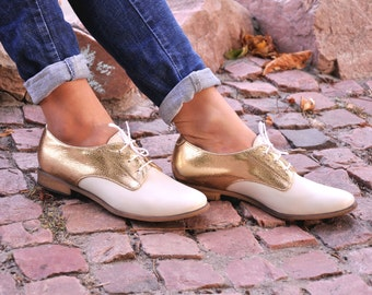 Abbey - Womens Derbys, Chic Shoes, Leather Shoes, wedding shoes, Gold Oxfords, Custom Shoe, FREE customization!!!.