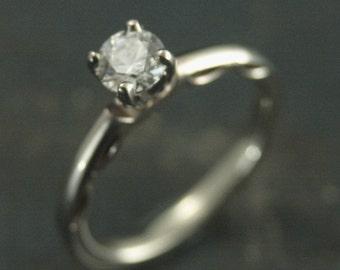 14K White Gold Engagement Ring--Prong Setting--Shetland Lace Ring--Filigree Ring--Antique Style Engagement Ring--Romantic Engagement Ring