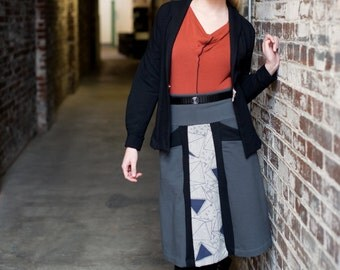 SALE! Womens Aline Skirt in Grey or Black, Soy Organic Cotton French Terry Skirt with Pockets, Neutron Skirt