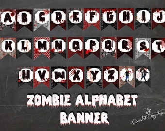 Zombie Banner, Zombie Party, DIY Printable PDF