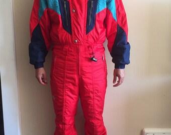 Vintage early 1990's Red Descnete Men's One Piece Ski Suit. Vintage Snowboard. Men's Size Medium.