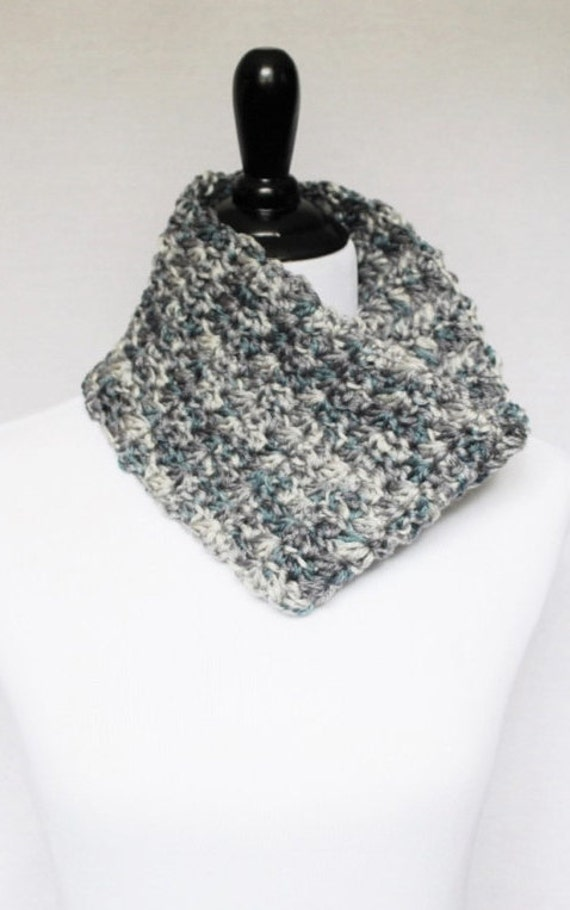 Gray and Blue Crochet Cowl,  Neck Warmer, Short Infinity Scarfm Crochet Collar, Marguerite, Star Stitch, Dark Teal