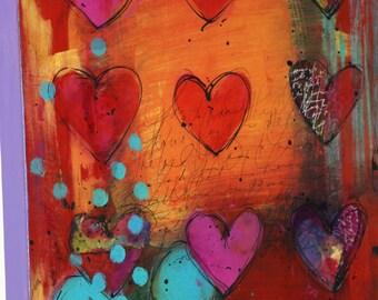 Art Mixed Media Painting, Original Acrylic Art, Wall Art, Abstract Art, Heart Art, Heart Art