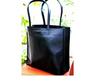 BLACK LEATHER TOTE Bag  from Full Grain Leather Handmade