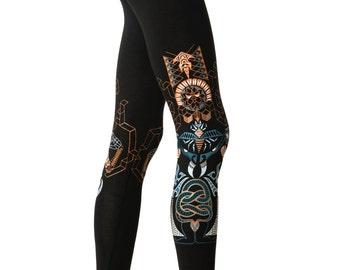 Kundalini Yoga Women's Leggings - Yoga leggings - Festival Leggings - Snake Leggings - Graphic leggings - Psychedelic- Geometric print- Yoga