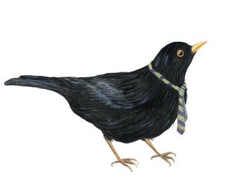 Greeting card of Black Bird With Tie