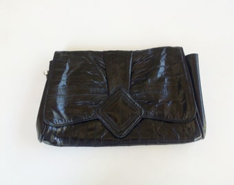 Black Eel Skin Handbag  Black Eelskin Clutch