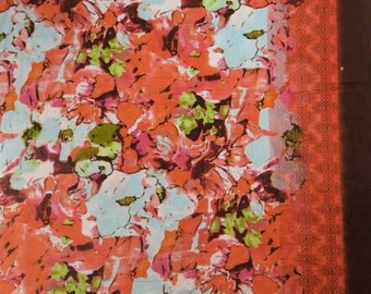 "Designer Fabric, Floral Print, Orange Fabric, Dress Material, Craft Fabric, Cotton Fabric, Sewing Decor, 42""Inch Fabric By The Yard ZBC7025A"