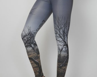 Birches Yoga Leggings, Eco-Friendly Handmade Yoga Leggings, Recycled Polyamide, Digital Printed, Womens Yoga pants, Eco-Conscious, Unique