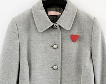 Love Heart Pin * Needle Felt * Handmade * Brooch * Tie Tack * Lapel Pin * Hat Pin *