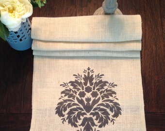 Damask Burlap Table Runner