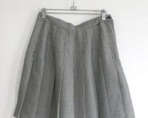 90s Vintage Plaid Single Button Mini Skirt High Waist, Side Button/Zipper Closure And Pleats