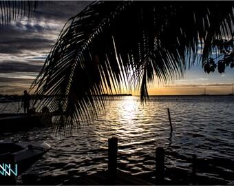 Sunset Photography, Sunset Fine Art, Large Wall Decor, Sunset Print - Sunset View at Caye Caulker Island of Belize