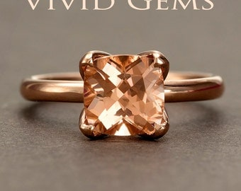 Peach Pink Morganite Rose Gold Ring, Cushion Morganite Tulip Solitaire Engagement Ring