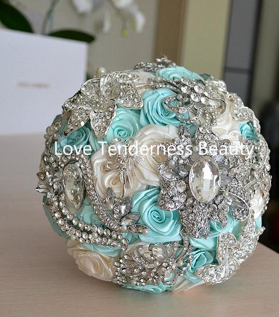 Blue Bridal Bouquet Charm : Mint blue wedding brooch bouquet bridal jewelry
