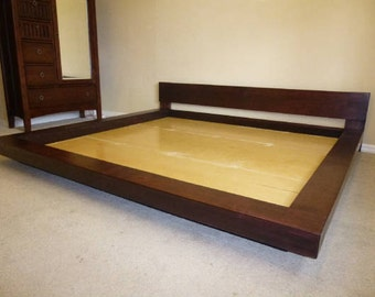 king queen real walnut asian japanese floating style platform bed solid - Solid Wood Platform Bed Frame King