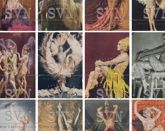 Paris Cabaret - French Showgirls - 18 Printable ATC Cards / ATC - ACEO Cards - Digital Collage Sheet