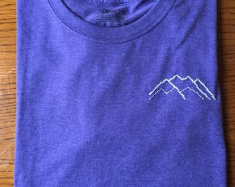 Embroidered Mountains Heather Purple T-shirt