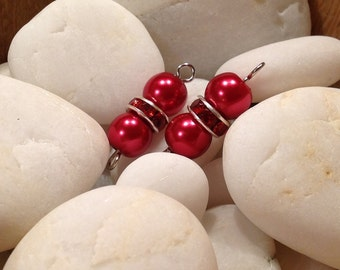 Set of 2 connectors / red beads / red Pearl glass beads / spacer red rhinestones / beads charms