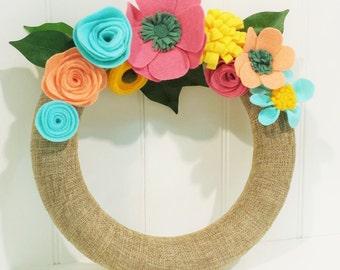 Modern Spring Wreath, Felt Flower Wreath, Burlap Wreath with Felt Flowers, Colorful Summer Wreath, All Year Wreath, Door Wreath, Felt Wreath