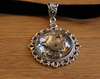 SALE! Hand made, Unique, Wrist Watch Parts Glass 20mm Cabachon Choker Necklace