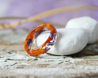 Real flower resin ring Faceted ring  Orange purple Statement ring Modern flower rings  Nature inspired rings Eco friend