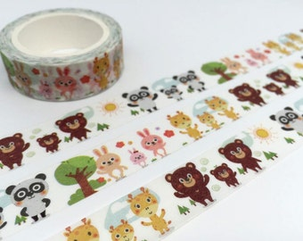 animal washi tape 10M rabbit panda bear giraffe cute animal deco masking tape baby animal kawaii animal sticker tape scrapbook diary gift