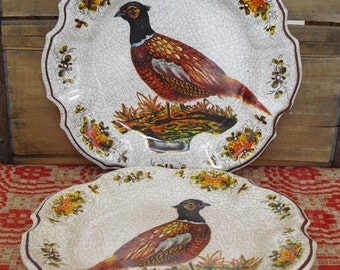 Vintage LAMI Pheasant Melmac Plate, Autumn Decor, Thanksgiving Decor, Farmhouse Decor, Rustic, Collector Plate, Wall Hanging, Made in Italy
