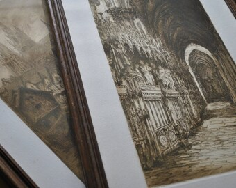 2 old prints of the Cathedral of Chartres