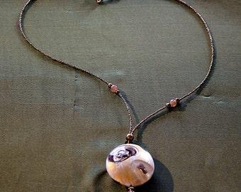 Murano gold and white lampwork bead pendant