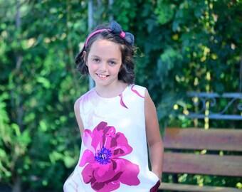 Toddler Dress, Summer Girls Dress, Girls Silk Dress, Floral Midi Dress, Short Silk Dress, Birthday Outfit, Modern Girl Dress, Elegant Dress