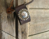 RESERVED FOR SL Southwest Rich Brown Leather Bracelet or Tooled Leather Cuff Repurposed Recycled