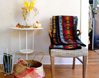 Wool Throw Blanket Native American Inspired Design in Black & Multicolor